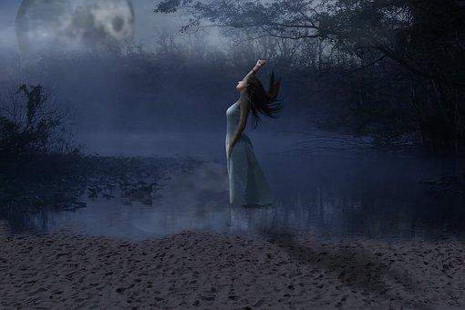 Light Of The Moon, Swamp, Bathroom, Girl, Fog, River