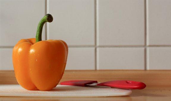 Paprika, Yellow, Cut, Knife, Cook, Ingredients, Raw