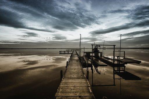 Lake, Web, Removal, Sky, Clouds, Web Setters, Autumn