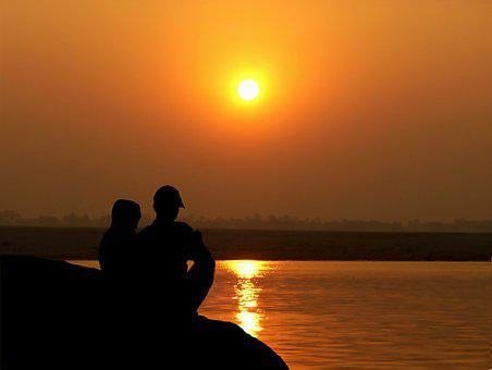 Sunset, Couple, River, Love, Romantic, Romance, People