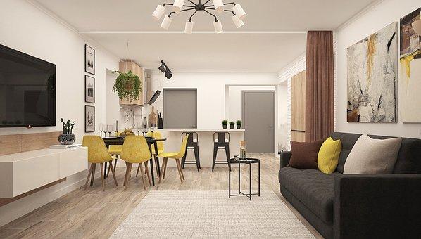 Kitchen-living Room, Modern Living Room, Studio