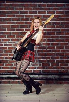 Guitar, Bass Guitar, Musician, Girl With Guitar