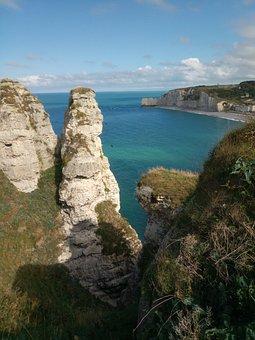 Normandy, Etretat, Sea, France, Landscape, Cliff