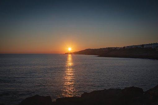 Sunset, Coastline, Beach, Sea, Water, Ocean, Seascape