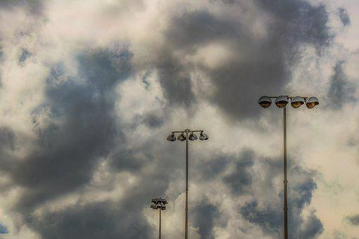 Floodlight, Clouds, Lamps, Storm, Stormy Weather