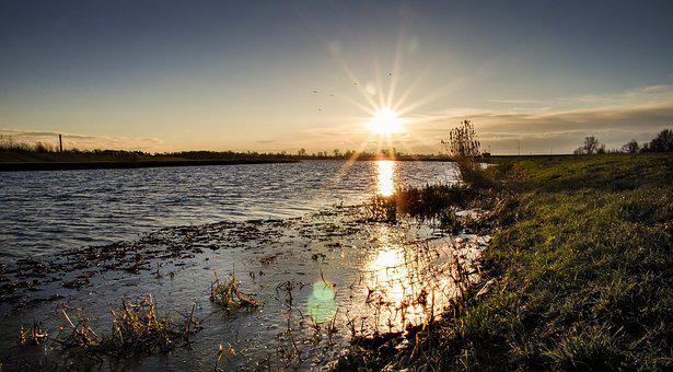 Sunrise Over The River, River, Dawn, Spring