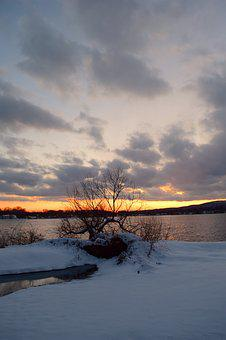 Snow, Winter, Sunset, Lake, Cold, Nature, Landscape