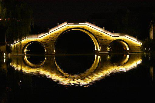 The Ancient Town, Night View, Bridge, Symmetry, River