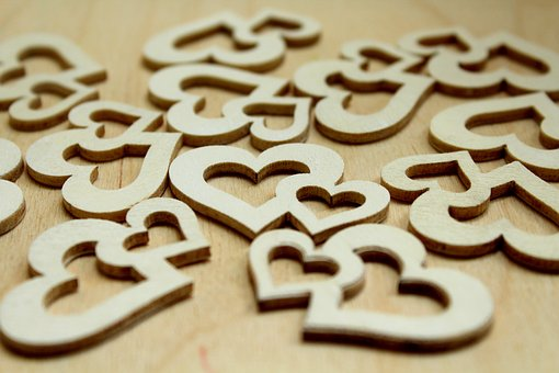 Heart, Hearts, Wooden, Feeling, Romantic, Symbols