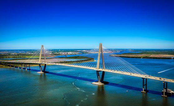 Ravenel Bridge, Architecture, Cooper River, Panorama