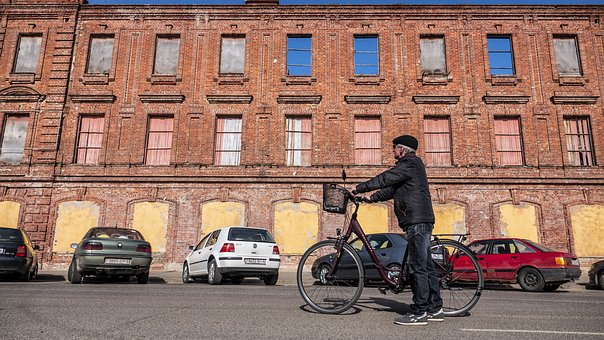 Building, The Ruins Of The, Bike, Traveler