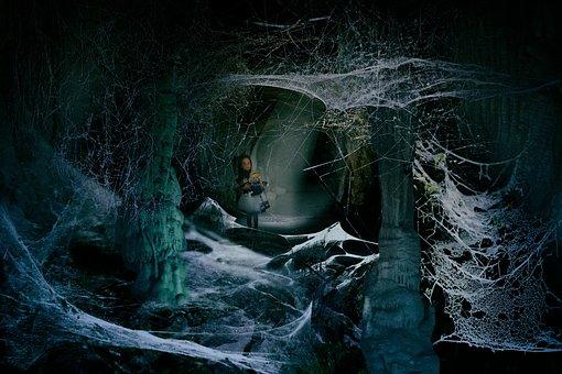 Cave, Dark, Little Girl, Fear, Cobwebs, Caving, Cavity