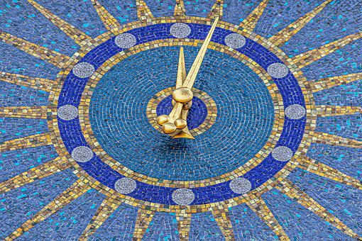 Clock Tower, Blue, Yellow, Gold, Five To Twelve