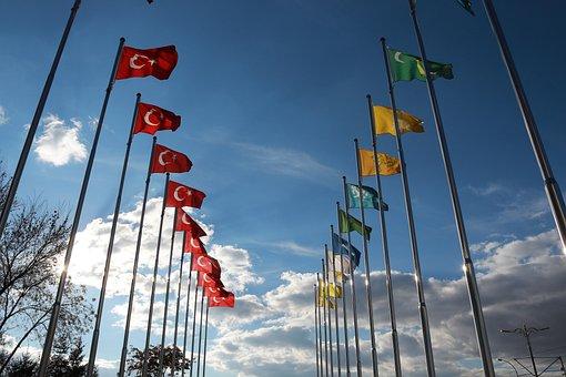 Turkish Flag, Flag, Sky, Cloud, Blue, Yellow, Direct