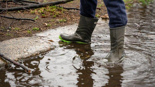 Boy, Rain Boots, Girl, Pool, Dirty, Rain, Wet, Water