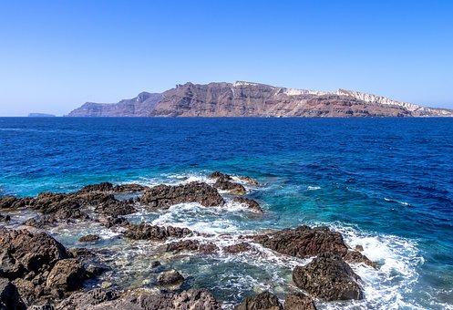 Santorini, Ocean, Greece, Sea, Island, Travel, Tourism