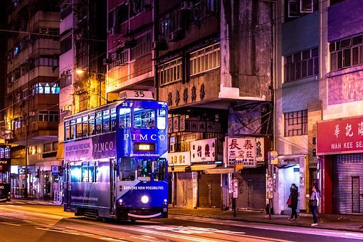 Hong Kong, Night, City, Cityscape, Street, Architecture