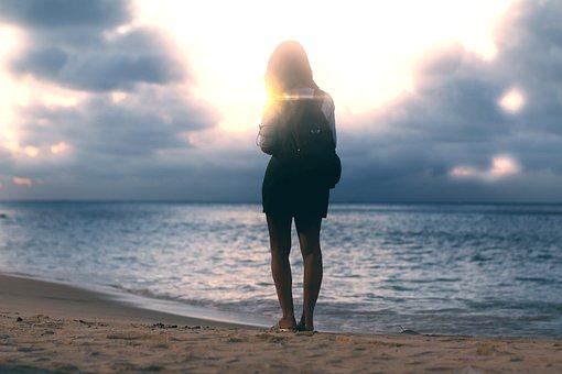 Woman, Mar, Ocean, Beach, Girl, Water, People, Romantic