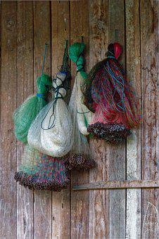Fishing Nets, Hanging, Fishing, Wooden Wall, Old