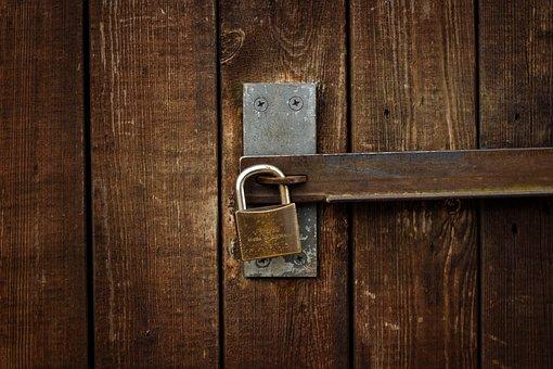 Castle, Padlock, Closed, Locked, Wood, Metal, Old