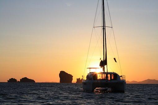 Sunset, Catamaran, Yacht, Sail, Sailing Boat, Boat