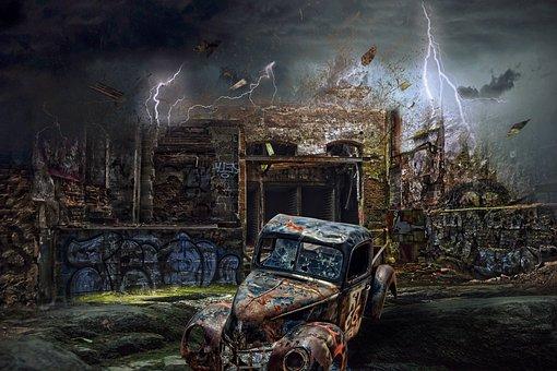 Storm, Apocalypse, Fantasy, Clouds, Lightning, Scifi