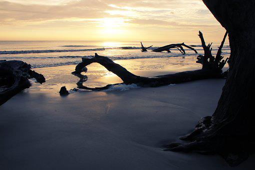Jekyll Island, Ocean, Sunset, Sea, Beach, Reflection