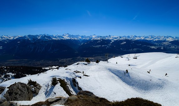 Mountains, Snow, Ski, Landscape, Winter, Rocks, Valley