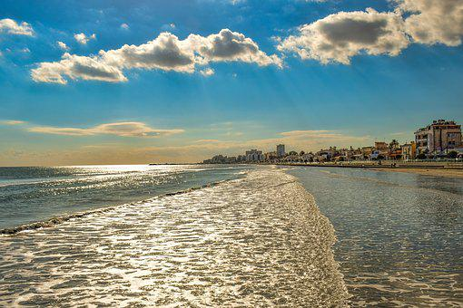 Cyprus, Larnaca, Town Beach, Promenade, Buildings, Sky