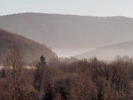 Beskids, Mountains, The Fog, Landscape, Forest, Winter