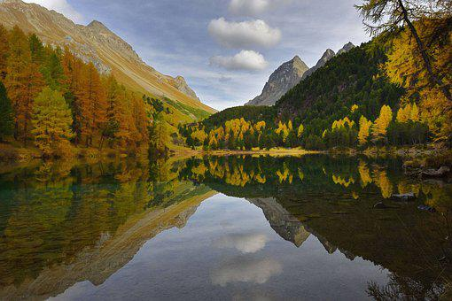 Mountain Lake, Albula Valley, Fall Colors, Switzerland