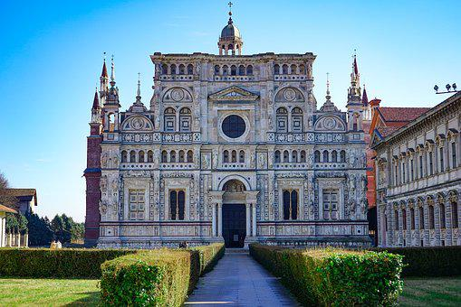 Certosa Di Pavia, Chartreuse, Pavia, Facade, Front View