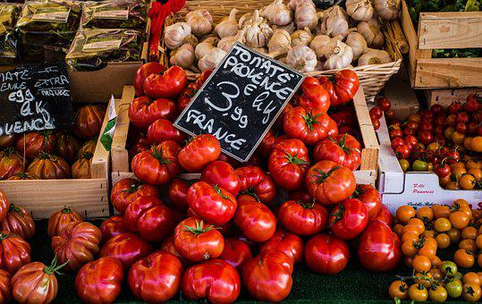 Tomatoes, Garlic, Greens, Market, Outdoor, Display
