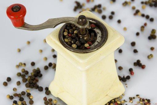 Pepper, Mill, Grind, Grains, Porcelain, Spice, Sharp
