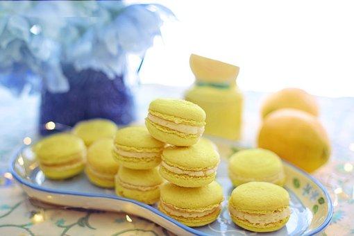 Macarons, Yellow, Lemon, Treat, Sweets, Cookies