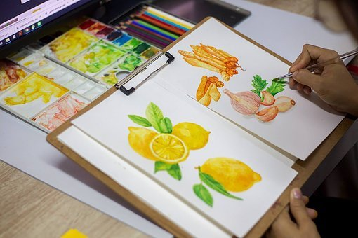 Watercolor, Lemon, Fruit, Lemmon, Paint