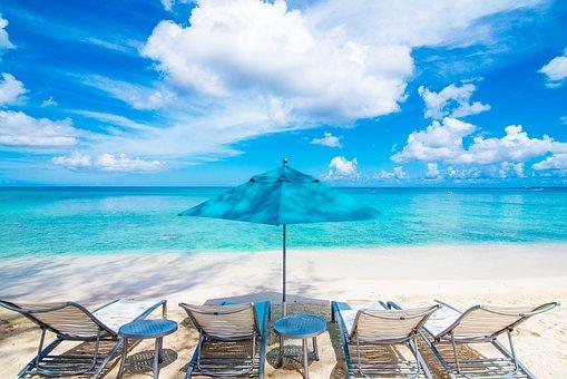 Beach, Playa, Sand, Palm Tree, Beach Chairs, Loungers