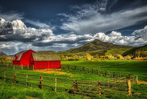 Squaw Mountain, Barn, Farm, Ranch, Landscape, Sky