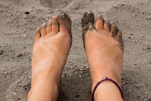 Beach, Sandy, Feet, Bare Foot, Sand, Woman, Tan