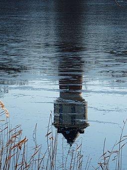 Neustrelitz, Water Tower, Lake, Water, Mirroring