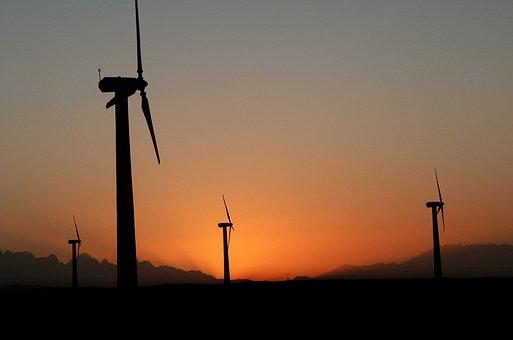 Wind Turbine, Twilight, Sky, Landscape, Energy