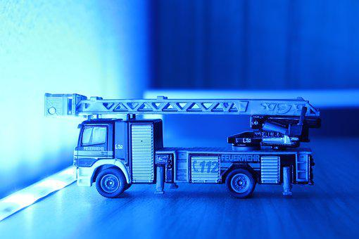 Fire, Turntable Ladder, Fire Truck, Ladder, Blue Light
