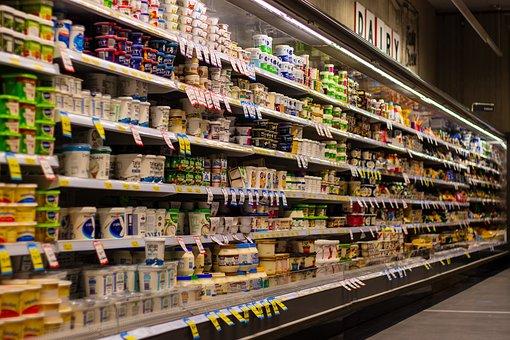 Supermarket, Shelf, Blur, Yogurt, Milk, Shopping