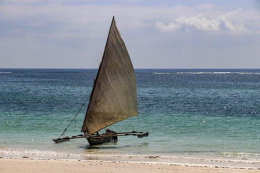Africa, Kenya, Diani Beach, Boat, Sea, Fisherman, Beach
