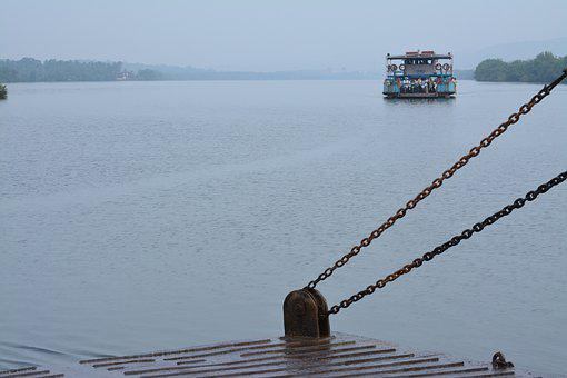 Goa, Ferry, Rain, River, India, Texture, Colorful