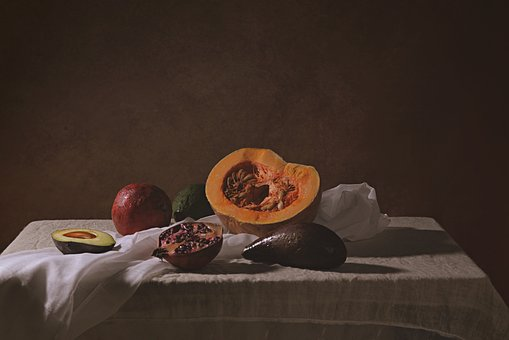 Fruits, Still Life, Art, Foods, White Table Cloths