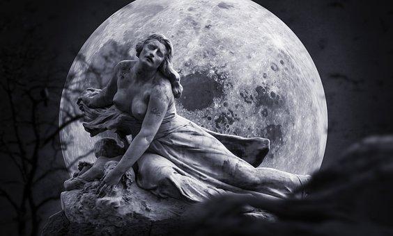 Gloomy, Mourning, Suffering, Fantasy, Moon, Woman