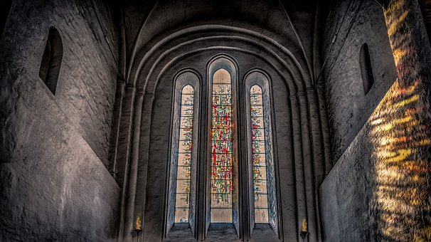 Church, Interior, Window, Stained Glass Window