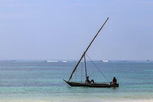 Africa, Kenya, Diani Beach, Boat, Sea, Fisherman