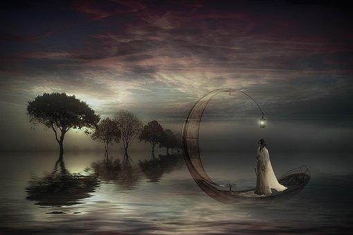 Fantasy, Lake, Woman, Boat, Magic, Lighting, Composing